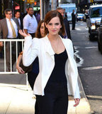 Emma Watson gave a wave in NYC.