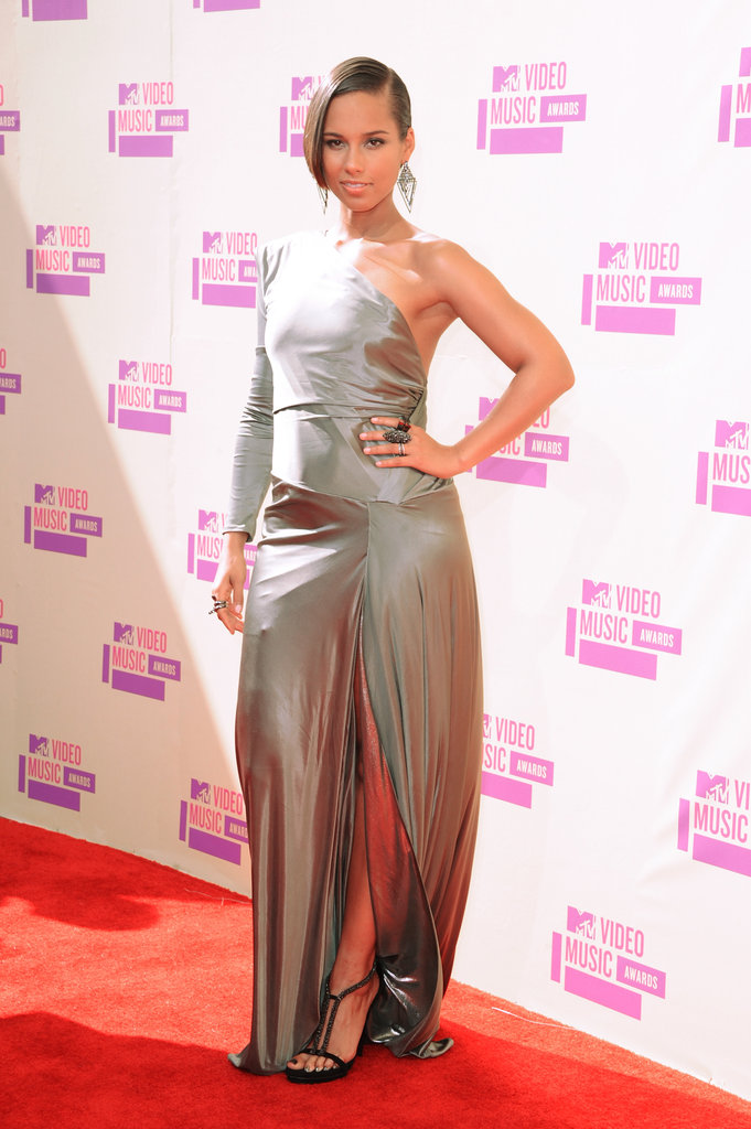 Alicia Keys wore a one-shoulder gown to the VMAs.