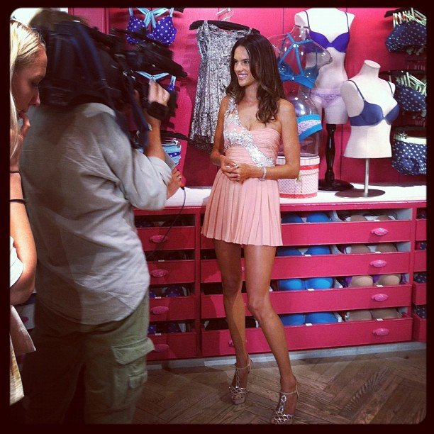 Alessandra Ambrosio was all smiles at Victoria's Secret. Source: Instagram user victoriassecret