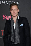Ed Westwick wore a scarf with his suit at the Style Awards.
