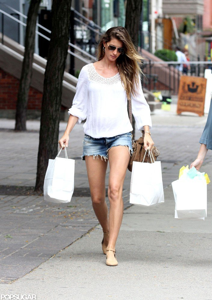 Gisele Bundchen wore a flowy top over her baby bump.