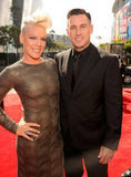 Pink and Carey Hart arrived on the red carpet with their arms around each other.