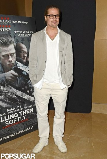 Brad Pitt wore all khaki to the Killing Them Softly screening in London.