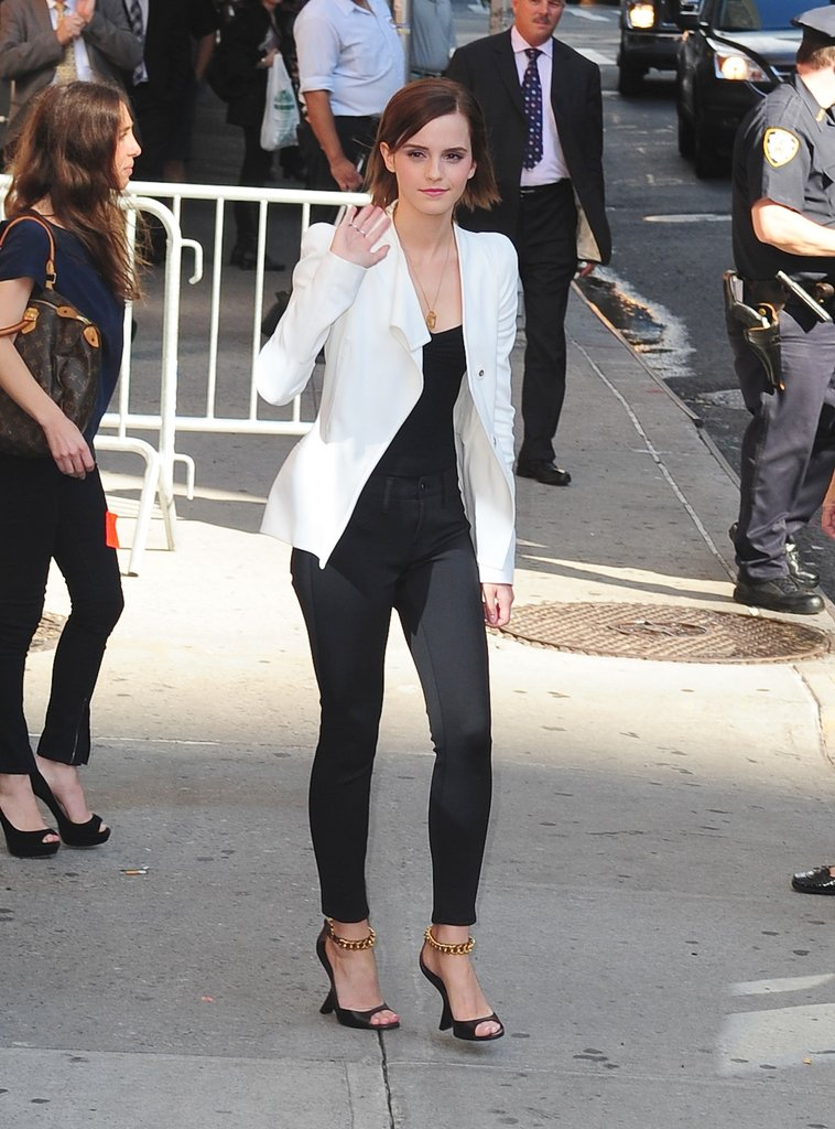 Emma Watson waved outside of the Late Show.