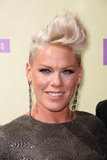 Pink styled her hair up on the red carpet.