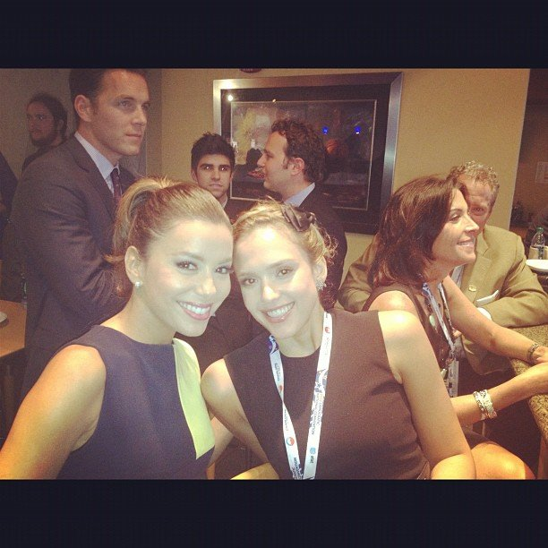 Eva Longoria and Jessica Alba sat together at the DNC. Source: Instagram user jessicaalba