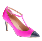 Ladylike, with an attention-getting pop of pink.  J.Crew Everly Satin T-Strap Pumps ($265)