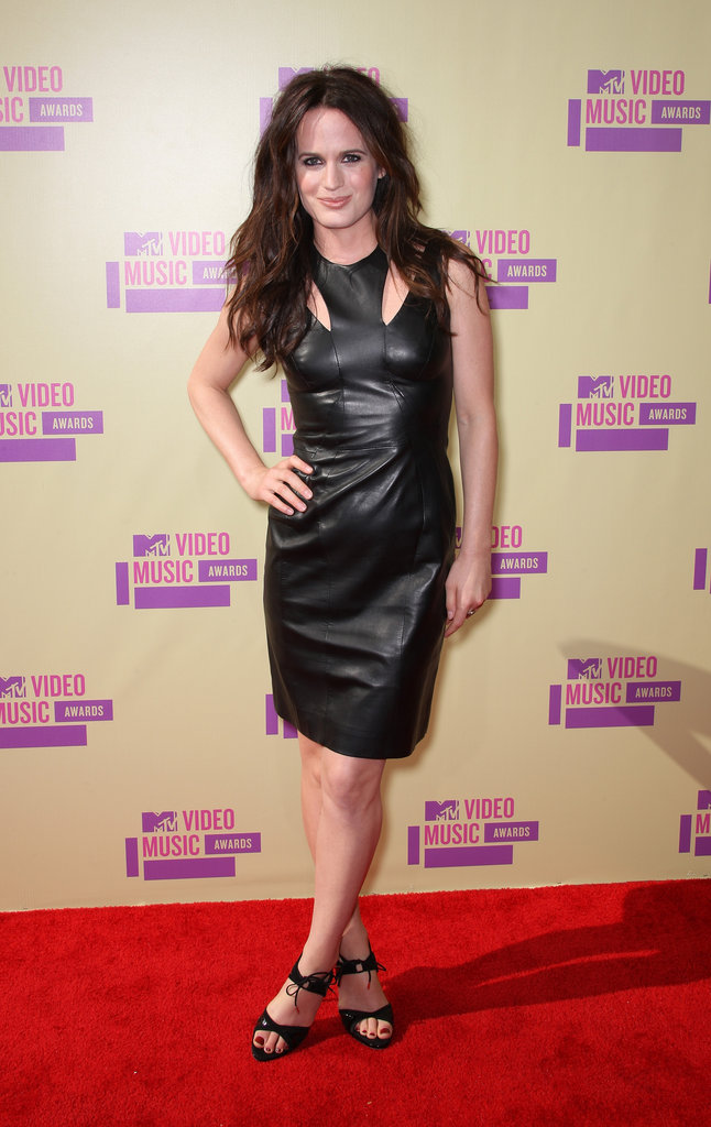 Elizabeth Reaser also chose a leather dress and heels for her VMA red carpet look.
