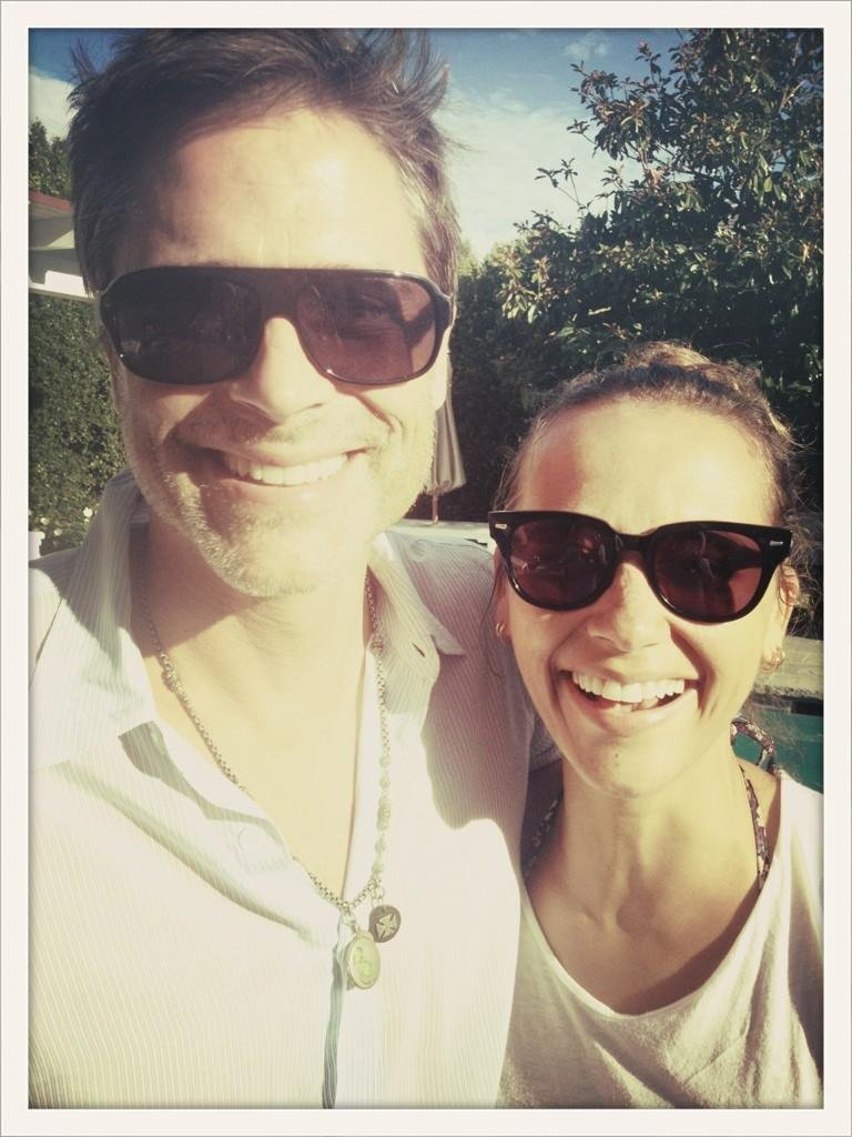 Rashida Jones celebrated Labor Day by the pool with her Parks and Recreation costar Rob Lowe. Source: Twitter user iamrashidajones