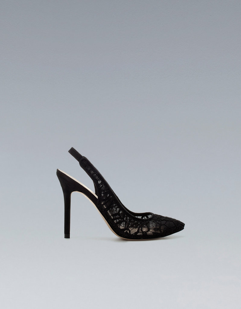 The lace detailing on this pair is totally unique, not to mention incredibly sexy (and under $100!).  Zara Lace Toe Slingback ($80)