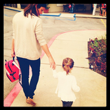 Harper Smith attended her first day of preschool with mama Tiffani Thiessen. Source: Instagram user tathiessen
