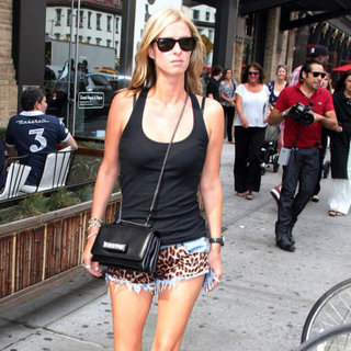 Nicky Hilton Wearing Leopard Denim Shorts