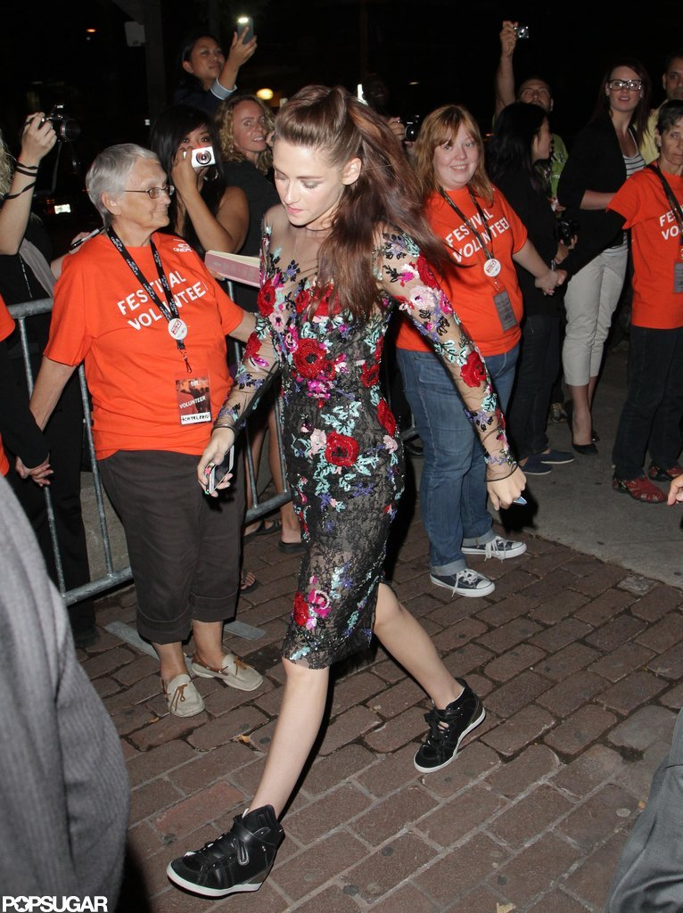 Kristen Stewart wore sneakers with her dress after her On the Road premiere.