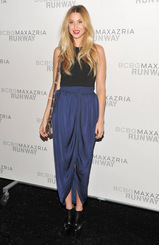 Whitney Port was spotted backstage at BCBG's Spring '13 show in a floaty blue skirt and ankle booties.