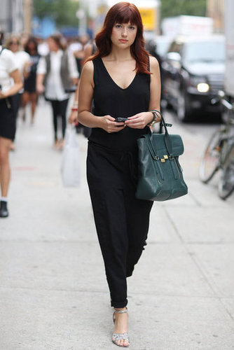 Fashionologie's Christina Perez showed off a jumpsuit and her trusty Phillip Lim Pashli. Source: Greg Kessler