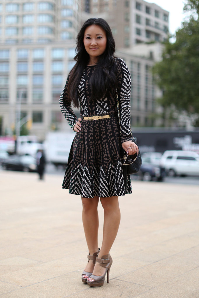 A printed dress made even cooler with architectural heels.
