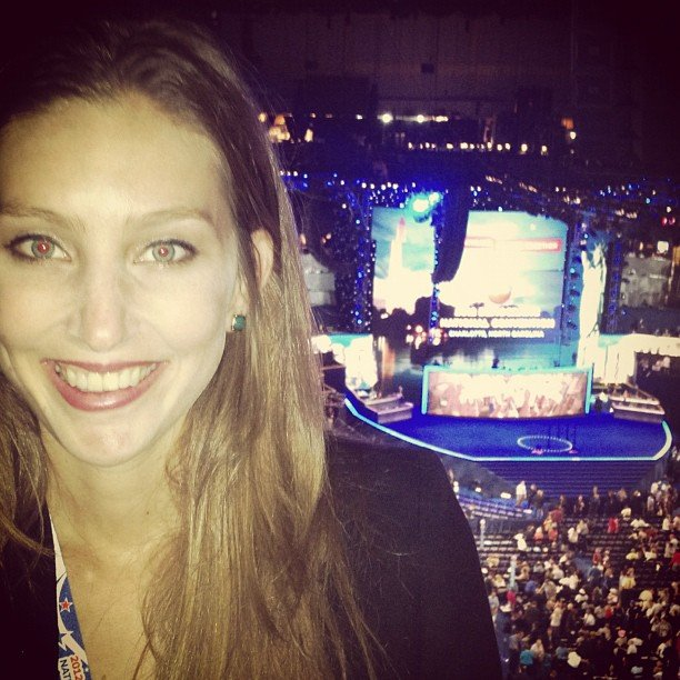 Annie was in her seat ready for the countdown to Obama to begin!