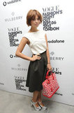 Pixie Geldof was polished perfection with her bright Louis Vuitton bag and metallic Celine heels.