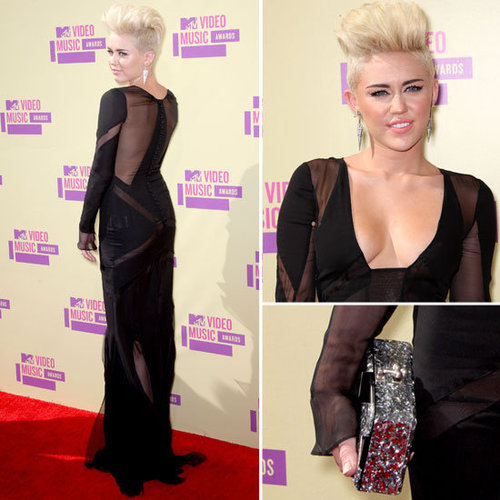 Pictures of Miley Cyrus in Sheer Black Emilio Pucci Dress on the Red Carpet at the 2012 MTV Video Music Awards