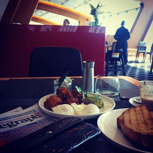 Megan Gale filled up on a seriously good-looking breakfast in the Qantas Lounge before a flight out. Source: Instagram user megankgale