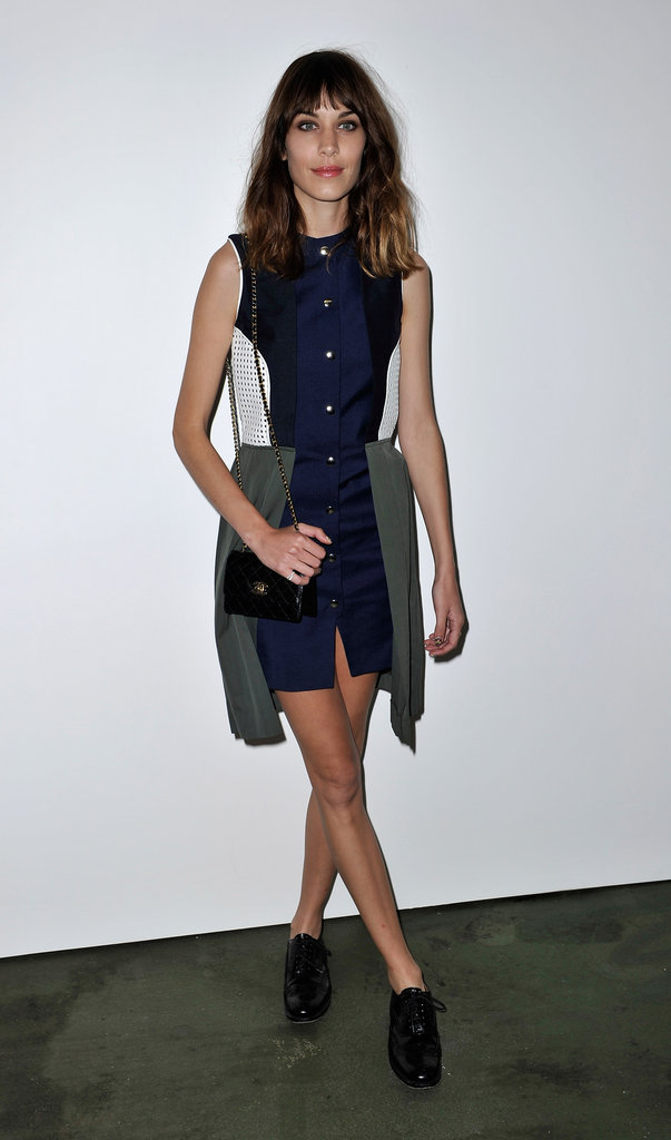 Alexa Chung went for a colour block outfit with lace up shoes at House of Holland.