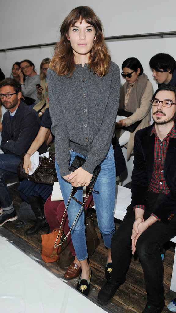 Alexa Chung was casual at Margaret Howell.