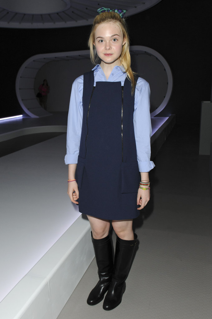 Elle Fanning wore a pinafore at Topshop Unique.
