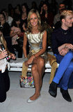 Lady Victoria Hervey went metallic at Jasper Conran.