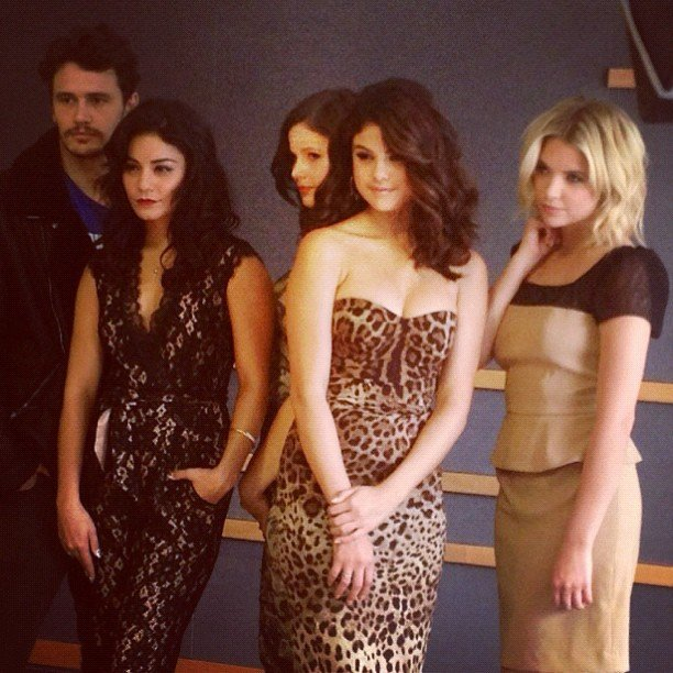 The Spring Breakers cast posed for a photo at TIFF. Source: Instagram user itsashbenzo