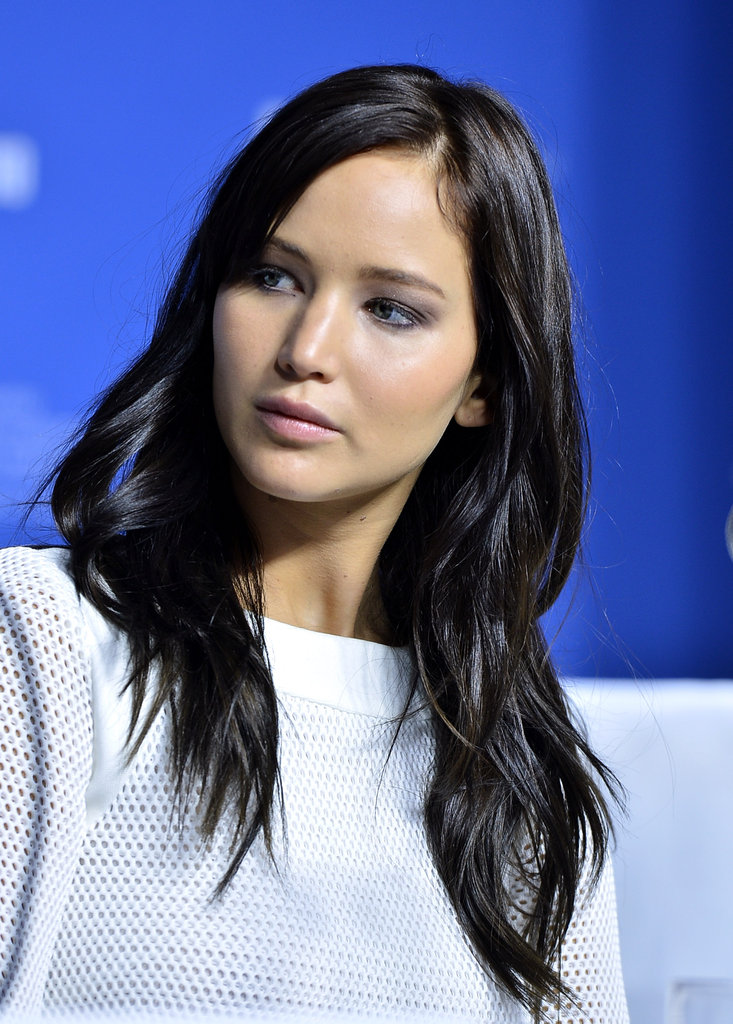 Jennifer Lawrence showed off her dark hair.