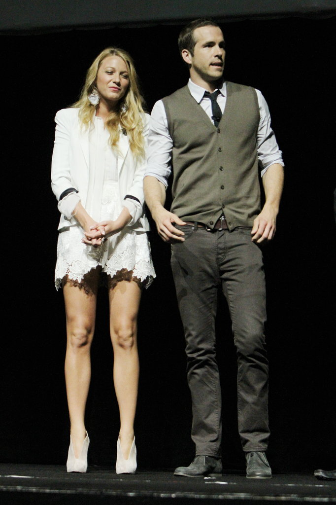 Blake Lively showed leg alongside Ryan Reynolds at CinemaCon in March 2011 in Las Vegas.