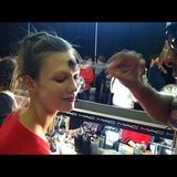 Karlie Kloss got her makeup done before a show. Source: Instagram user luckymagazine