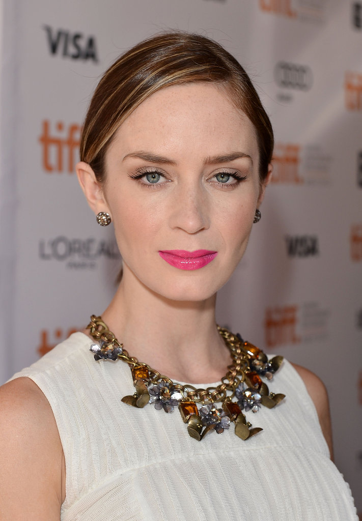 Emily Blunt rocked a pink lip shade.