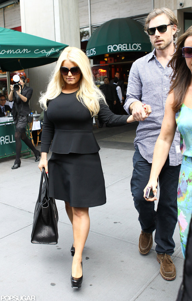 Jessica Simpson Wears Tight Peplum to Lunch With Eric