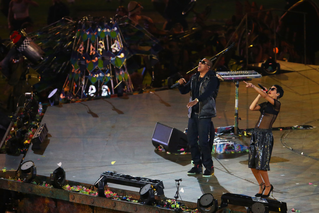Jay-Z and Rihanna performed together for the London Paralympics closing ceremony.