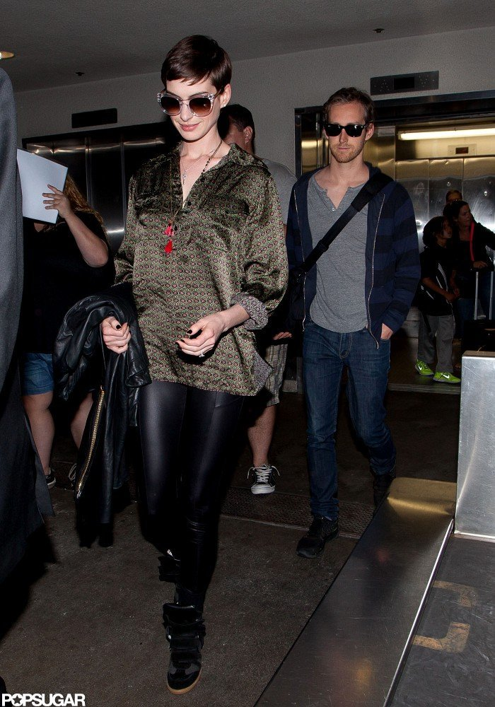 Anne Hathaway and Adam Shulman arrived at LAX.
