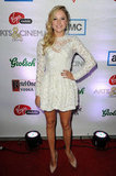 At Any Price starlet Maika Monroe attended the film's afterparty in a lacy LWD and nude pumps.