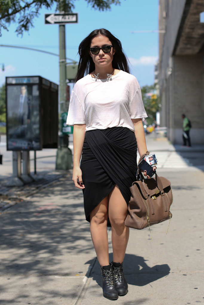 Dressed simply, but with impeccable accessories — like a Phillip Lim Pashli.