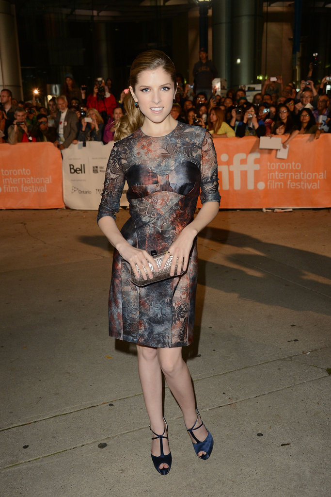 Anna Kendrick wore an ultrasheer Mulberry dress with navy T-strap sandals for the premiere of The Company You Keep.