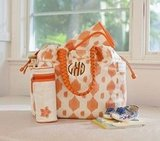 Larkspur Boho Diaper Bag in Orange Ikat ($99)