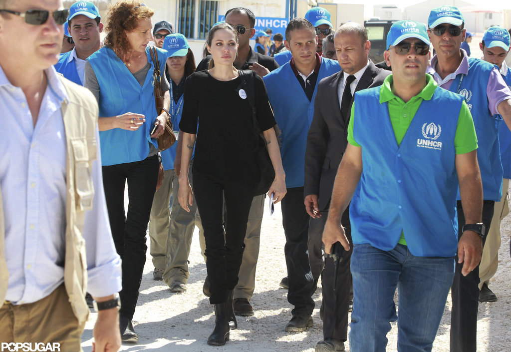 Angelina Jolie arrived at Al Zaatari refugee camp in Jordan.