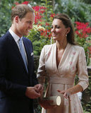 Kate Middleton wore a Jenny Packham dress to attend an Orchid naming ceremony with Prince William in Singapore.