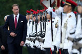 Prince William greeted the guards in Singapore.