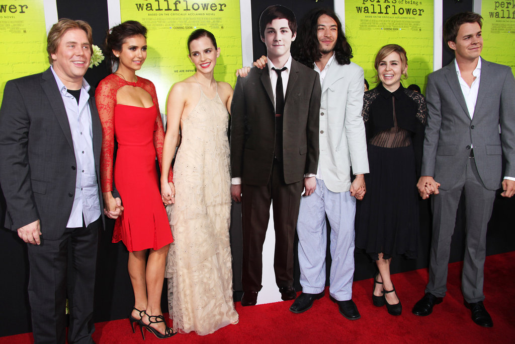 Emma Watson, Nina Dobrev, Ezra Miller, Mae Whitman, Johnny Simmons, and Stephen Chbosky held hands on the red carpet for the Perks of Being a Wallflower premiere in LA.