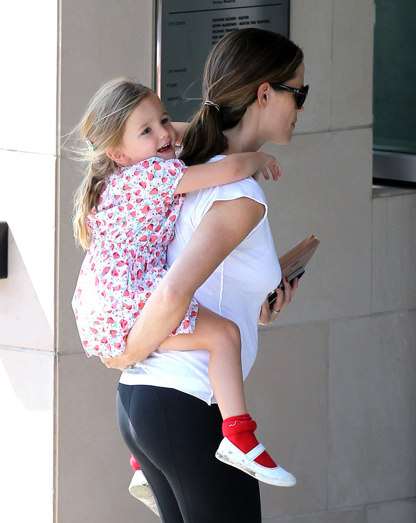 Seraphina Affleck was all smiles as she got a lift from Jennifer Garner.