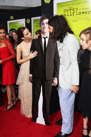 Emma Watson joked with Ezra Miller and a cutout of Logan Lerman.