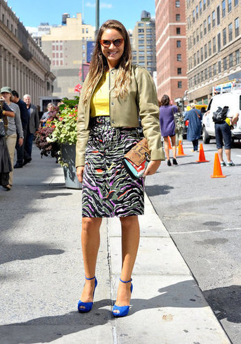 A whimsically printed pencil skirt upgraded this everyday look.