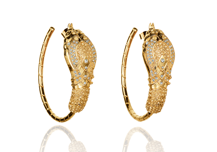 Editors' Pick: This pair of jewel-encrusted earrings would complement a jeans-and-tee outfit perfectly. Add a slick black pump and you're ready to go.