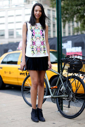 This printed top gave a black miniskirt and booties a girlie twist.