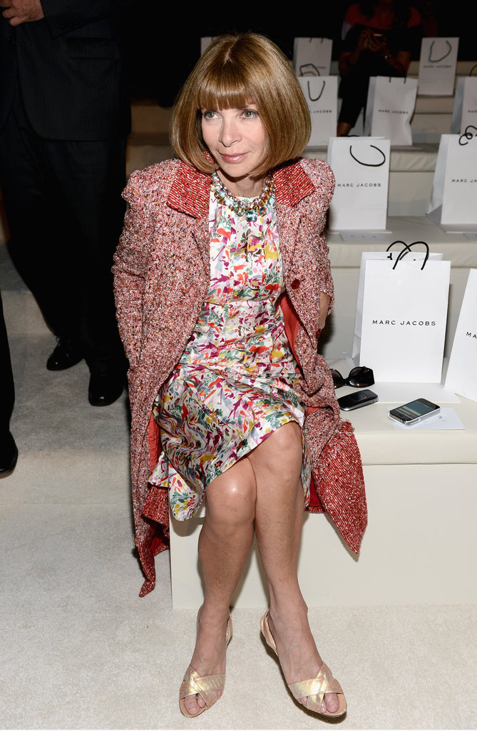 Anna Wintour was spotted in her signature sophisticated mix of prints and tweed.